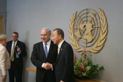 Will Israel and the Palestinians shake hands next? Prime Minister Netanyahu (Left) and UN Sec-Gen Ban. Illustrative. By Joshua Spurlock