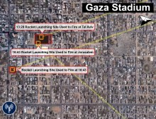 Using civilian locations nothing new for Hamas. Illustrative map showing Gaza rocket site in civilian areas. Photo Courtesy of IDF Spokesperson