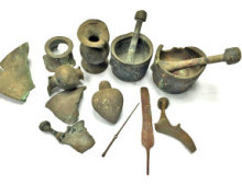 These historical artifacts were a sea treasure retrieved by a power plant employee. Photo courtesy of Diego Barkan, Israel Antiquities Authority.